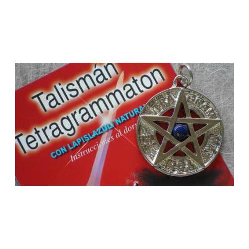 TETRAGRAMATON PLATEADO 3,5 CMS CON LAPISLAZULI