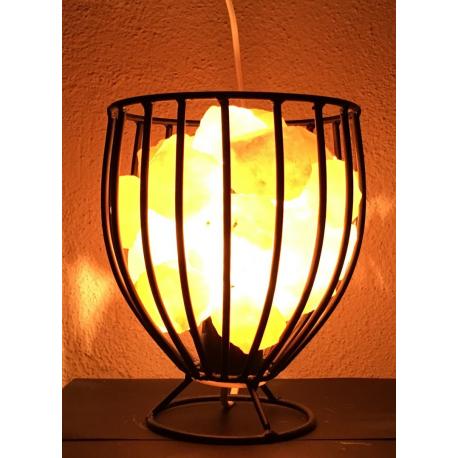 Lámpara de Hierro Forjado con Trozos de Sal del Himalaya. 16 X 22 cm