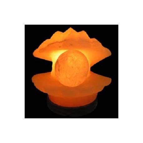 Lampara Artesanal de Sal Forma Concha con Perla, de 2 a 4 Kg