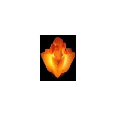 Lámpara Artesanal de Sal Cuenco en Forma de Flor, de 2 a 4 Kg