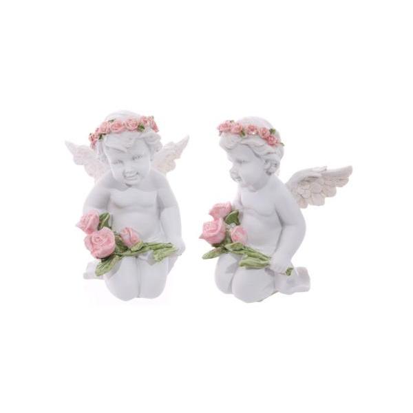 FIGURA ANGEL BLANCO ARRODILLADO CON RAMO ROSA 11.3X 7.5X 8 CM