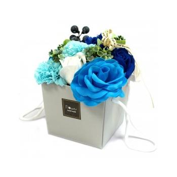 Bouquet Flores Jabón-Rosas Azules y clavel