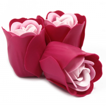 Set de 3 flores de jabón caja corazón - rosas