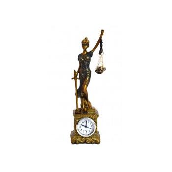 Dama de la Justicia en pedestal con Reloj 27cm