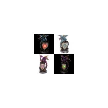 Dragón Leyenda Oscura sobre Roca de Cristal con LED