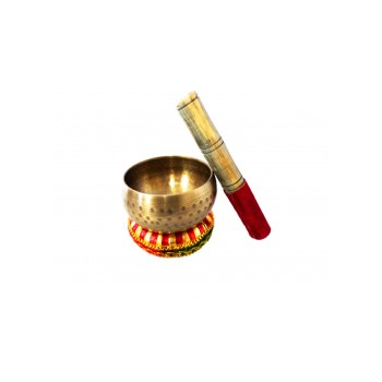 Cuenco Tibetano 6 Ø Bronce 4 Metales (con Maza y Almohadilla)
