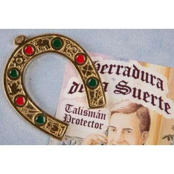 HERRADURA COLGANTE DORADA Y LACADA 14 X 12 CMS