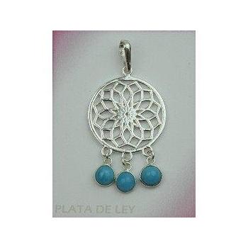 Colgante plata flor de la vida con piedras turquesa