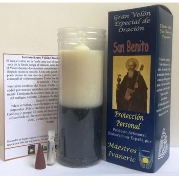 Velón Especial Potenciado Con Oración San Benito, Protección
