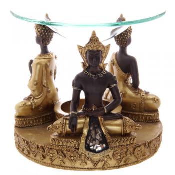 Quemador de Aceite Buda Thai, Dorado-Marrón