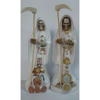 Imagen Artesanal en Resina Santa Muerte Blanca. 20 cm