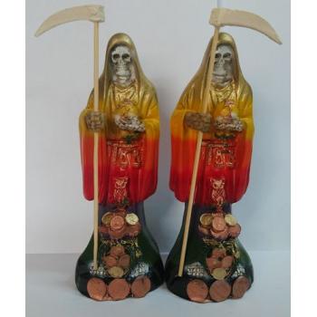 Imagen Artesanal en Resina Santa Muerte Colores. 20 cm