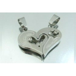 COLGANTE ACERO CORAZON DOBLE 26 X 30 MM