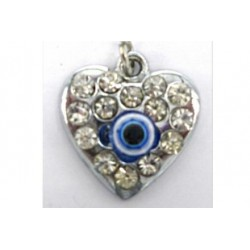 COLGANTE DE METAL CORAZON CON BRILLANTITOS 2 X 1.5 CM